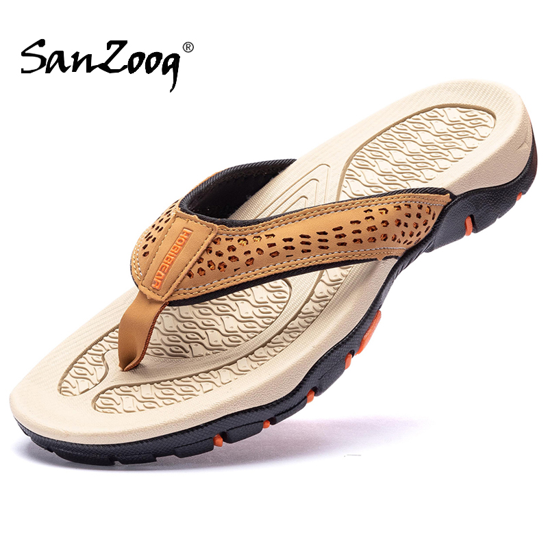 Summer Outdoor Genuine Leather Flat Casual Mens Flip Flops Slippers News 2020 Beach Hard-Wearing Plus Big Size Dropshipping