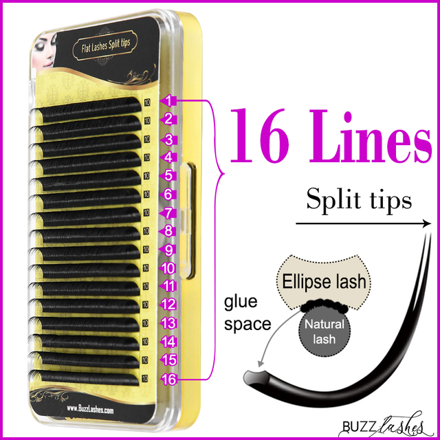 fast shipping 16 Lines Cashmere Flat Lashes Split tips, Natural Ellipse Flat Eyelash Extension Full Matte Lash Extensions