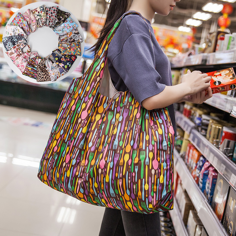 Folding Reusable Grocery Bags Washable Waterproof Nylon Holds Heavy Groceries Foldable Tote Bag Eco-Friendly Shopping Bag Pocket