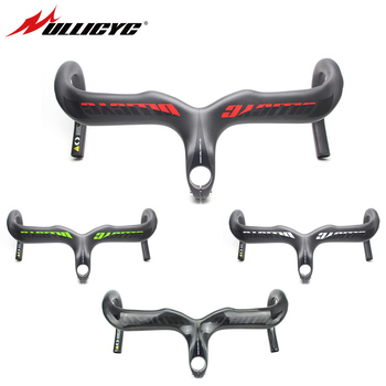 Ullicyc Colorblock Logo Sticker 3K Weave Full Carbon Handlebar Integrated Road Handlebar Handlebar with Riser Cycling Bike Parts