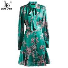 Summer Fashion Runway Bow tie Dress Women Long Sleeve Belted Ruffles Floral Print Ladies Vintage Dresses vestido