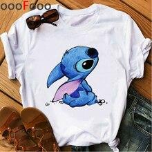 Cute Lilo Stitch Ullzang Casual T Shirt Women Ullzang Stitch Harajuku T-shirt Kawaii Grunge Tshirt F