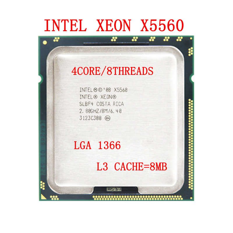 lntel Xeon X5560 CPU Quad Core 2.8GHz/LGA1366 /95W/8MB Cache suiter for X58 Motherboard