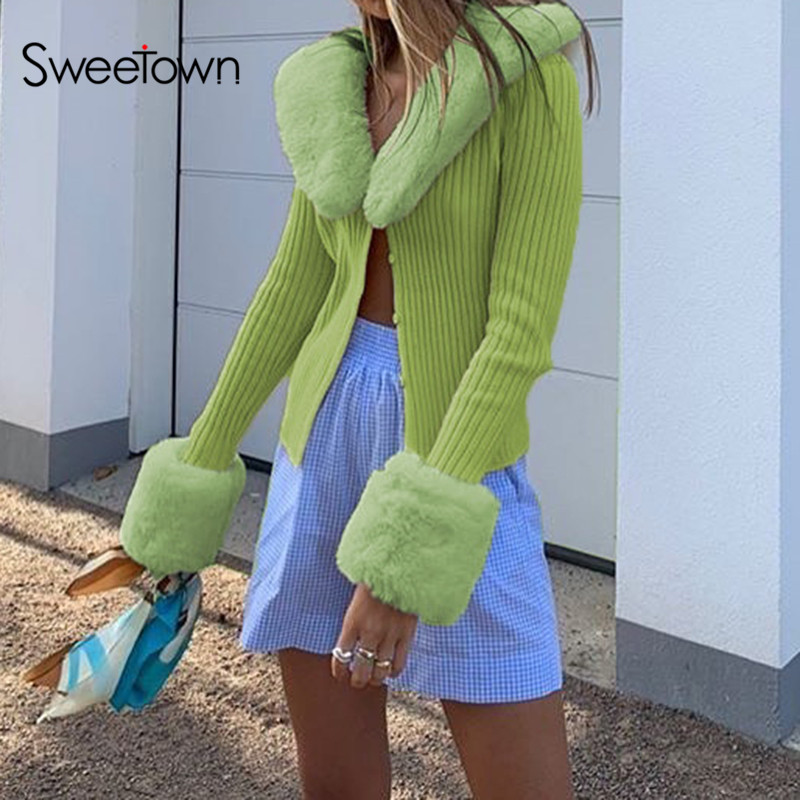 Sweetown Ribbed Knitted Ladies Cardigans Sweaters With Fur Trim Collar Long Sleeve Slim Autumn Winter Jumpers Women Knitwear Y2K
