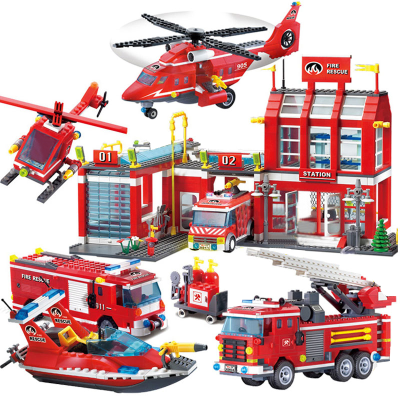 Fire station Building <font><b>Blocks</b></font> Compatible legoingly city Truck Helicopter <font><b>boat</b></font> car firefighter Bricks Educational Children <font><b>Toys</b></font> image