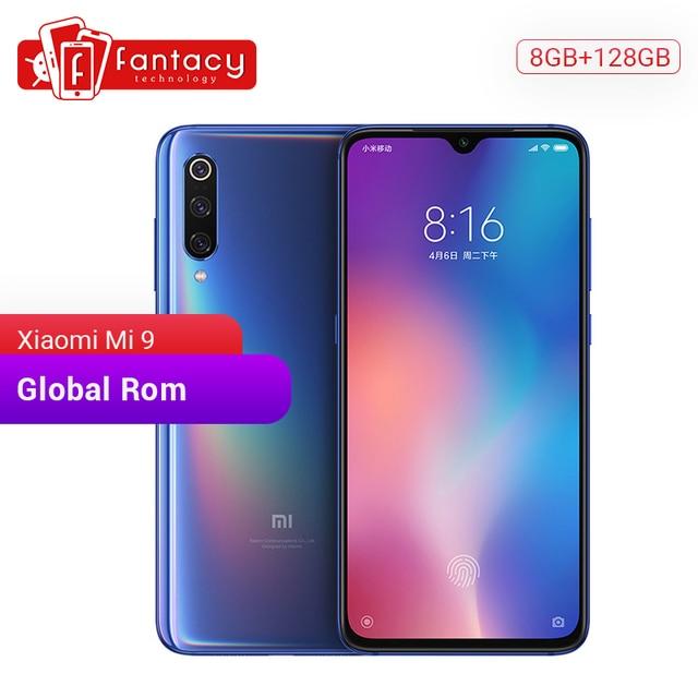 "Küresel ROM Xiao mi mi 9 mi 9 8GB 128GB Snapdragon 855 Octa çekirdek cep telefonu 6.39"" 1080P AMOLED akıllı telefon 48MP üçlü kameralar NFC"
