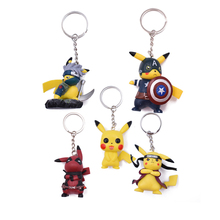 5 Styles Pikachu Animation Cartoon Deadpool Naruto Hatake Captain America Key Holder Go Ring Pendant Mini PVC Trinke