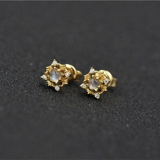 Bijoux moonlight pierre boucles d'oreilles automne et hiver nouvelle couleur trésor alimentaire argent placage or