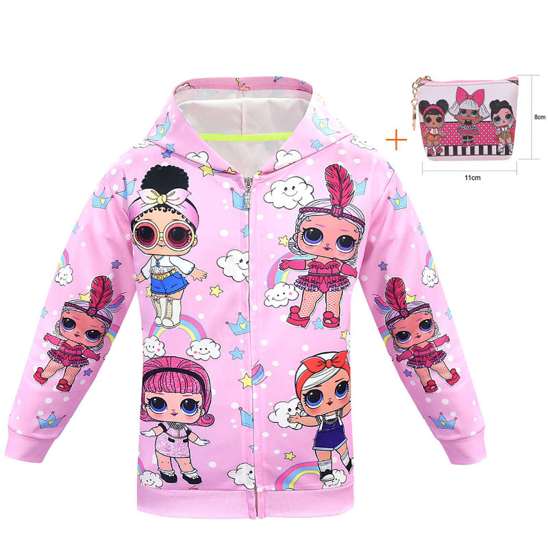 2019 New Cartoon Doll LOl Children's Jacket Cartoon Girl Zipper Shirt Doll Girl Print Rib Coat + Bag 2 Sets