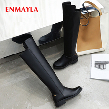 ENMAYLA Zip  Round Toe Square Heel Rainboots Winter PU Women Shoes Over-the-Knee Thigh High Boots Solid Plush Rivet Black Boots недорого