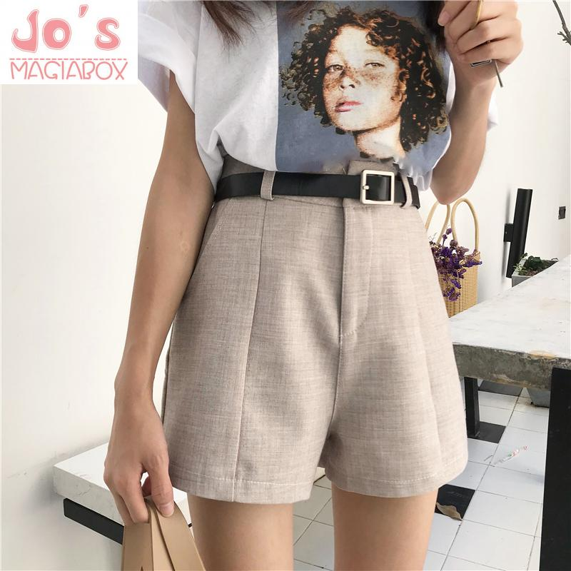 Summer Korean Women Sashes High Waist Shorts Casual Female Solid Button Fly Shorts Mujer Pockets Empire Sexy Mini Loose Shorts