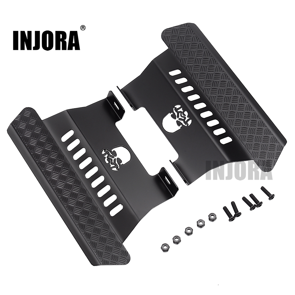 INJORA 2Pcs RC Car Metal Side Pedal Skull Pattern For 1/10 RC Crawler Car Axial SCX10 Upgrade Parts