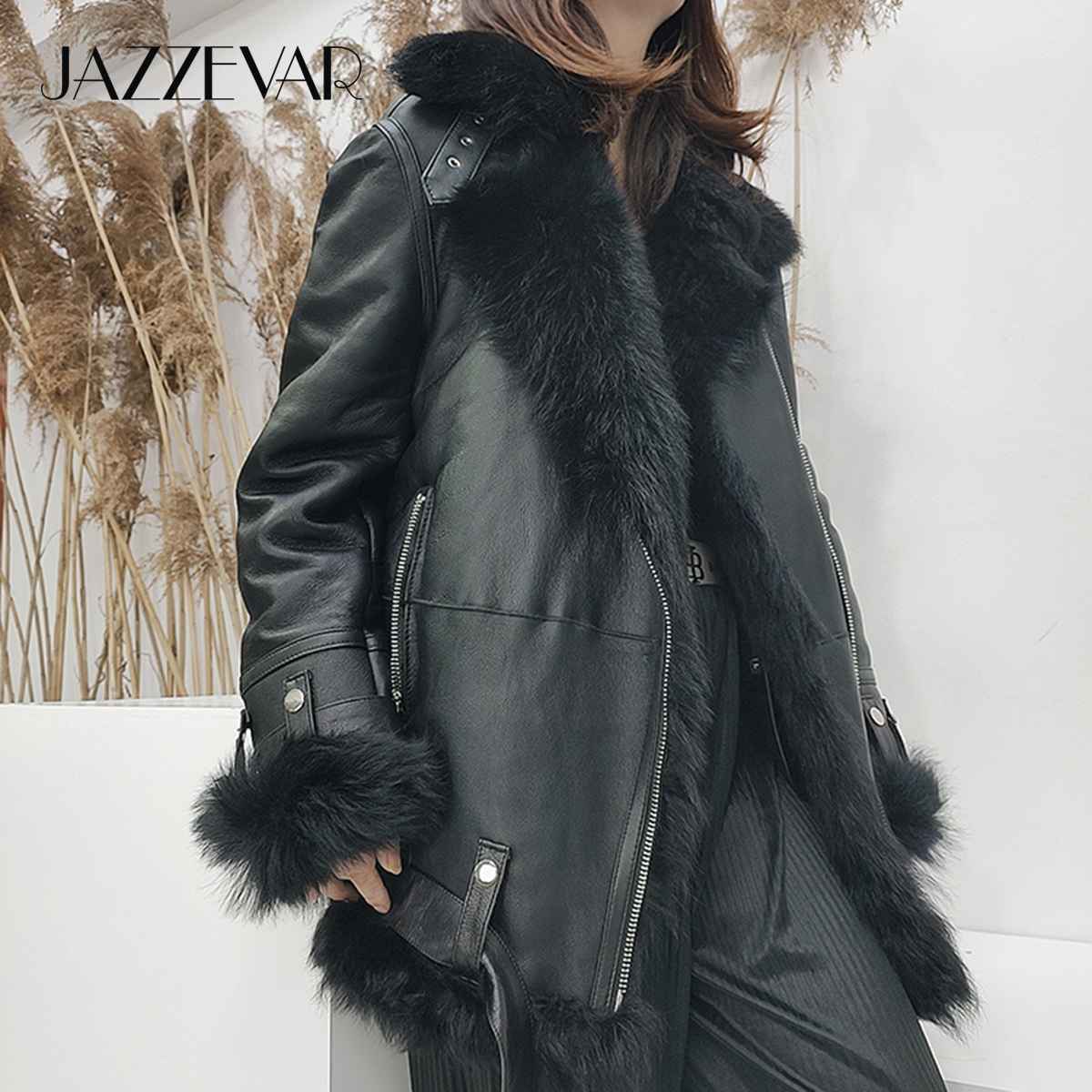 JAZZEVAR sheepskin winter Jacket high fashion street Women Real double faced fur Outerwear female Tuscany leather with fur coat|Real Fur| - AliExpress