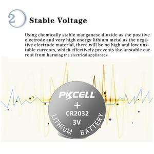 Image 3 - 100Pcs PKCELL CR2032 3V button cell 2032 BR2032 DL2032 SB T15 cr 2032 EA2032C ECR 2032 3V lithium battery coin batteries 220mah