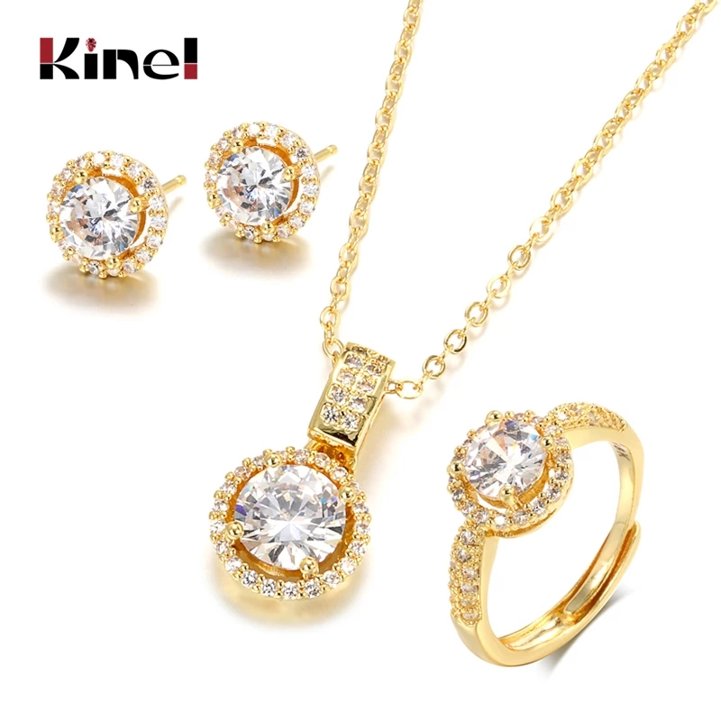 Kinel 18K Gold Zircon Jewelry Sets Engagement Ring Necklace Earring for Bridal Wedding Jewelry Valentine's Day Gift for Women