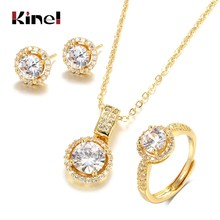 Kinel – ensemble de bijoux en Zircon or 18K, bague de fiançailles, collier, boucles d'oreilles pour mariée, bijoux de mariage, cadeau de saint valentin pour femmes