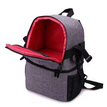 все цены на Photo Camera DSLR Video Waterprpof Oxford Fabric Soft Padded Shoulders Backpack SLR Bag Case for Canon Nikon Sony(red) онлайн