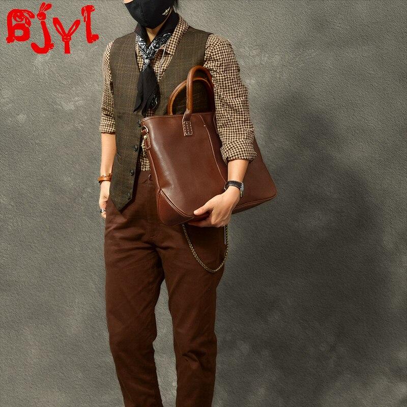 New Handmade High-quality Men's Briefcase First Layer Cowhide Men Handbags Business Laptop Bag Male Shoulder Messenger Bags