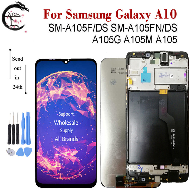 LCD + Frame For SAMSUNG Galaxy A10 2019 Display SM A105F/DS A105FN A105G A105M A105 LCD Screen Touch Sensor Digitizer Assembly