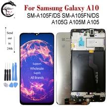 LCD + çerçeve SAMSUNG Galaxy A10 2019 ekran SM A105F/DS A105FN A105G A105M A105 LCD ekran dokunmatik sensör digitizer meclisi