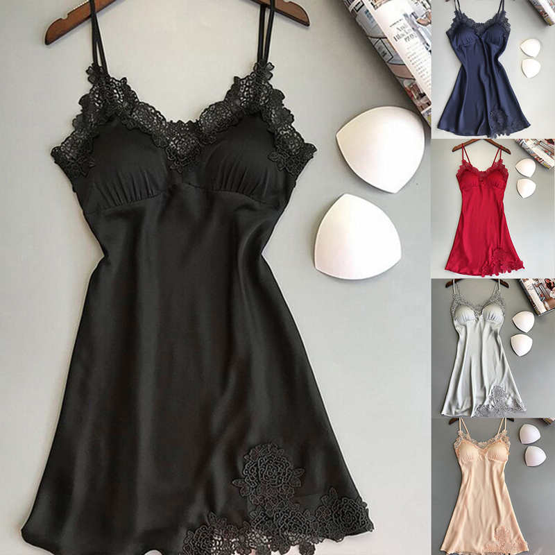 Women Lace Sexy Nightwear Plus Size Lingerie Deep V-Neck Sleepwear Underwear Dress Nightdress Nightgown Sleep Robe
