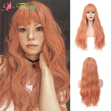 X-TRESS Synthetic Wigs with Bangs Orange Color Long Natural Wave Cosplay Wigs for Black Women High Temperature Fiber Lolita Wig