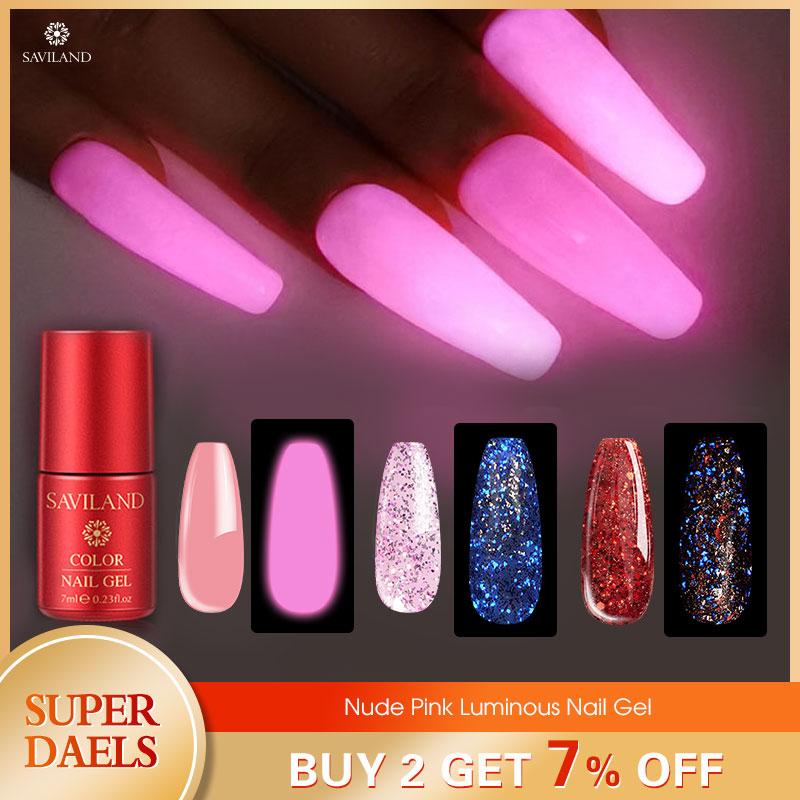 SAVILAND Nude Pink Glow In Dark UV Gel Nail Polish Luminous Nail Art DIY Soak Off LED Lamp Semi Permanent Nails Art Design Tools