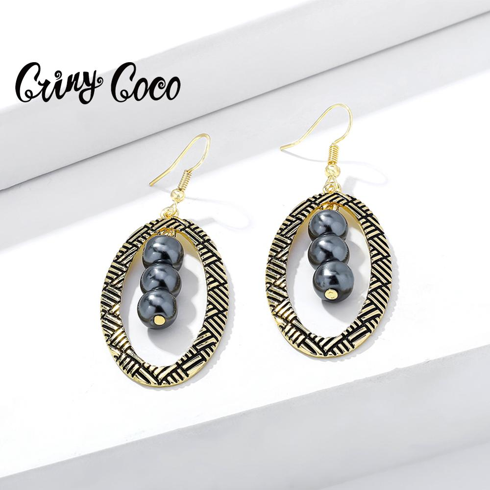 Cring Coco Hawaiian Geometric Drop Earrings Classic Alloy Metal Big Creative Trendy Bridal Party Jewelry Earring for Women Girls