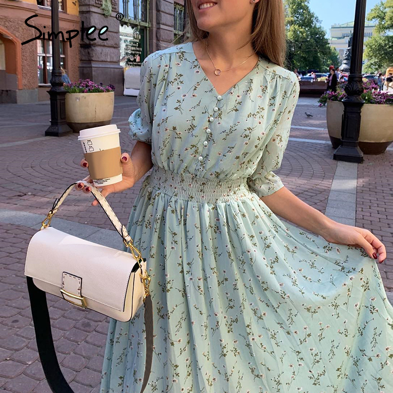 Simplee Women Floral Print Dress Elegant Puff Sleeve A Line V Neck Sash Dress High Waist Work Wear Office Lady Green Dress 2020
