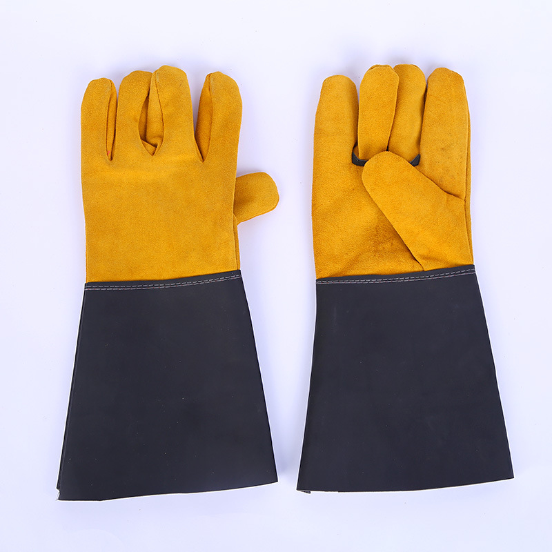 36CM Two-layer Cow Leather Sleeve Welder Gloves Leather Anti-scalding Insulation Welding Working Protective Gloves