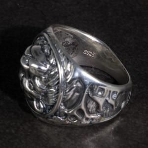 Image 3 - Solid 925 Sterling Silver Mens LionแหวนVintage Steampunk Retro Bikerแหวนผู้ชายต้นไม้กวางแกะสลักเครื่องประดับชาย