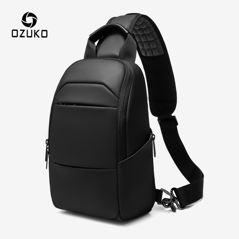 OZUKO Men's Waterproof Crossbody Bag Chest Pack Male Messenger Shoulder Bag Short Trip Phone Sling Bags Casual 9.7 Inch Ipad New