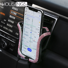 Universa Bing Holder For Phone In Car Rhinestone Air Vent Mount Stand Clip iPhone 7 8 Crystal Gps Support Bracket
