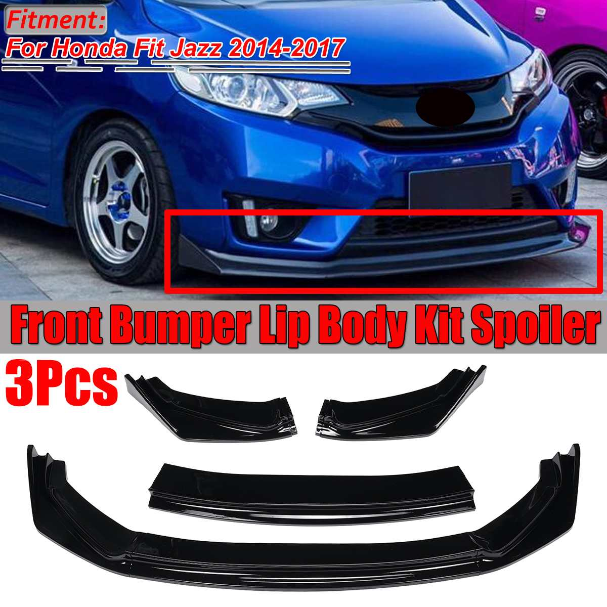 3x Bumper Lip Car Front Bumper Lip Body Kit Diffuser Protector Spoiler Splitter Lip Guard For Honda For Fit For Jazz 2014-2017