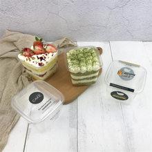 50 zestawów kwadratowy plastikowy Cupcake mus opakowanie pudełko ciasto jednorazowe przezroczysty deser kubek PET dobrodziejstw pudełka dostawy 400ML