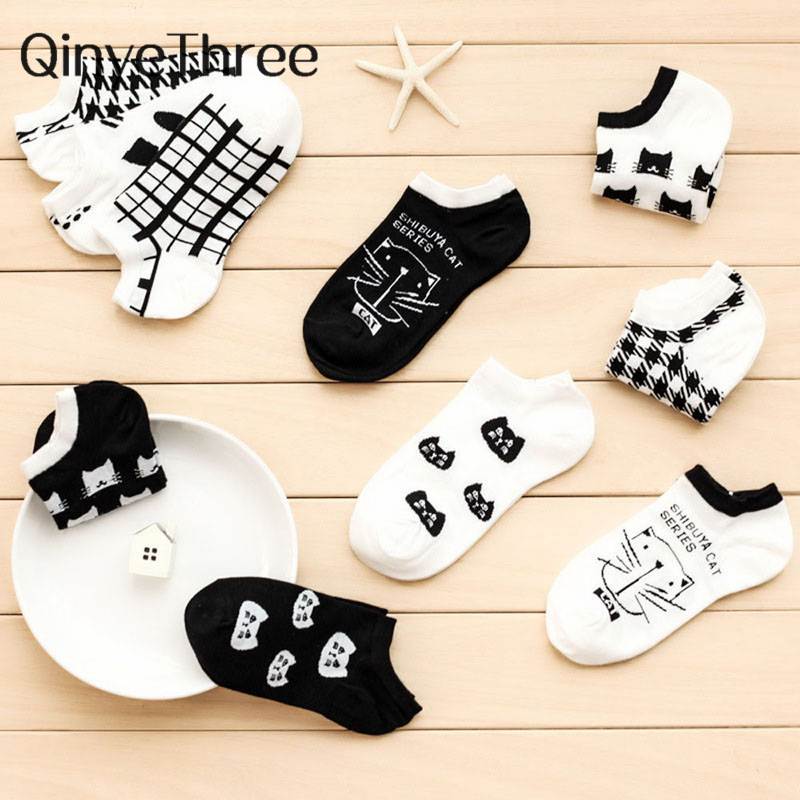 New Cartoon Cute Cat Face Women's Cotton Socks Short Tube Socks Girls' Happy Spring Summer Socks