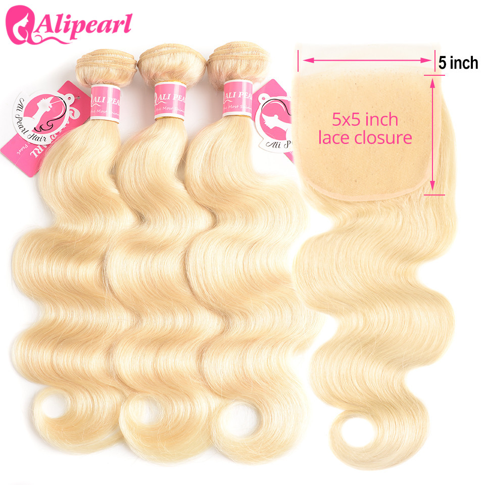 AliPearl 613 Blonde Bundles With Closure 5x5 Free Part Body Wave Brazilian Hair Weave 3 Bundles With Closure Remy Hair Extension image