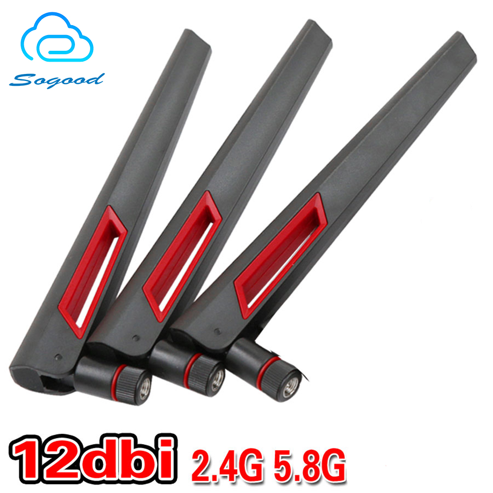 4pcs/lot Strong Signal 12dbi Dual Band WIFI  2.4G 5G 5.8G RP SMA Female WLAN Wireless Router Antenne For Asus RT-AC88U/RT-AC68U