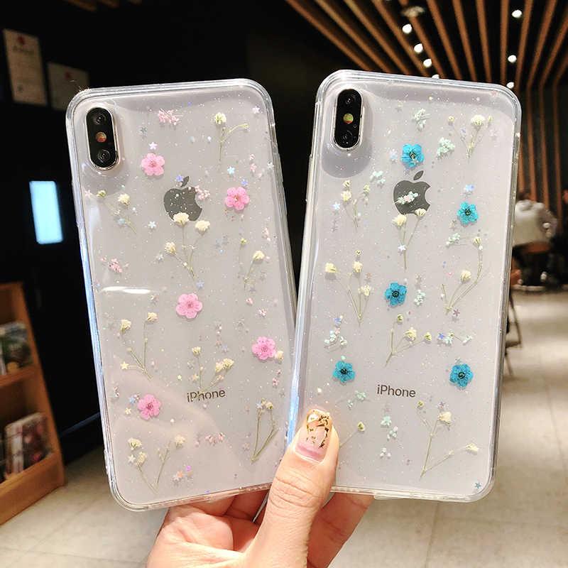 الحقيقي الزهور زهور مجففة شفافة لينة غطاء من البولي يوريثان الحراري ل iphone X 6 6S 7 8 زائد جراب هاتف ل iphone XR XS ماكس غطاء