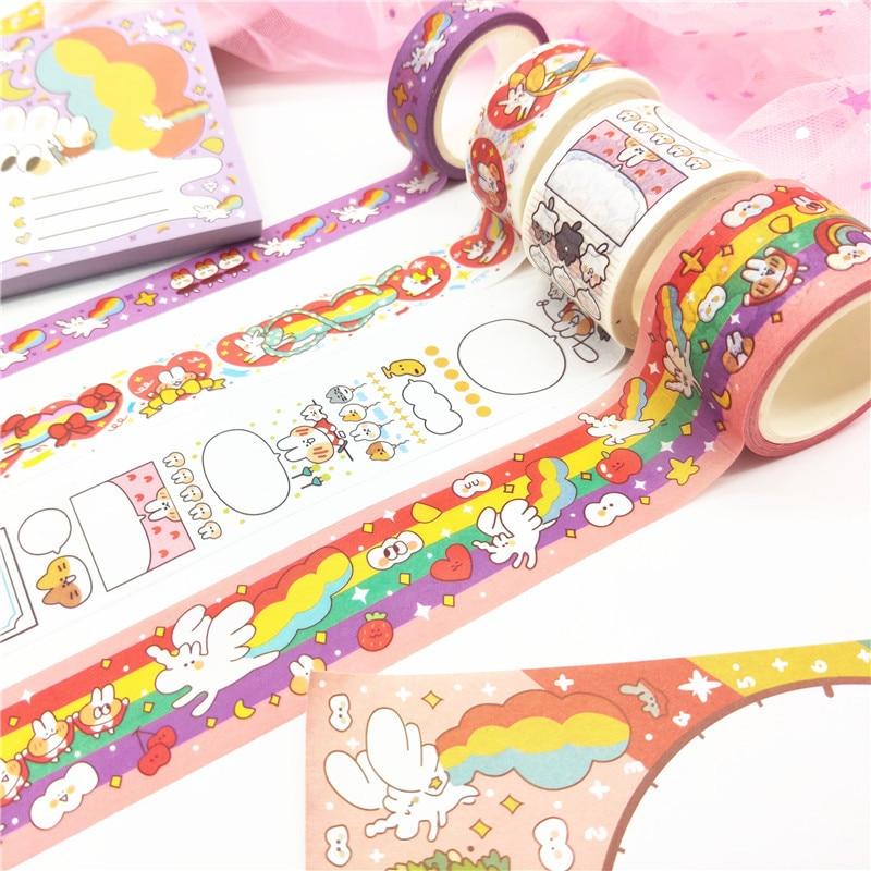 Cute Rabbit Unicorn Party Kawaii Planner Handbook Decorative Washi Masking Tape School Supplies Korean Stationery Album Stickers