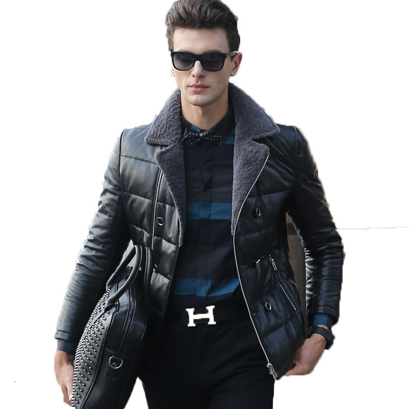 Genuine Leather Jacket Sheepskin Down Jackets Winter Jacket Men Real Lamb Fur Collar Coat Warm Outwear Veste Homme YR0012 Y1593