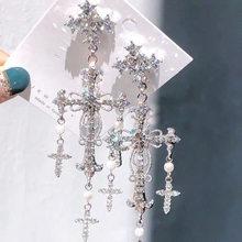 Pendientes colgantes de cruz y perlas de cristal para mujer, estilo palaciego, Color plata, elegante, Coreano nuevo