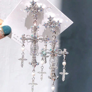 Korean New Trendy Luxury Palace Style Silver Color Crystal Pearl Cross Dangle Earrings For Women Elegant Party Jewelry