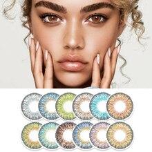 ביו מהות הרשמי 1 זוג (2pcs) צבע עדשות מגע כחול שלושה טון סדרת טורקיז אופנה קשר עין עם צבע סיטונאי