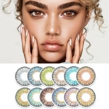 Biyo özü resmi 1 çift (2 adet) renkli kontakt lensler mavi üç ton serisi turkuaz moda göz kontakları renk toptan ile