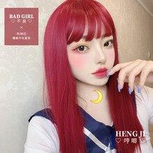 Uwowo Staight Peruca Vermelha Peruca Cosplay Lolita Wigs Resistente Ao Calor Cabelo Sintético Anime perucas Do Partido vermelho