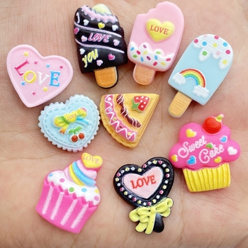 10Pcs Resin Lovely Mixed Popsicles / Ice Cream Cakes Flatback Cabochon Scrapbook Kawaii DIY Embellishments Accessories D75