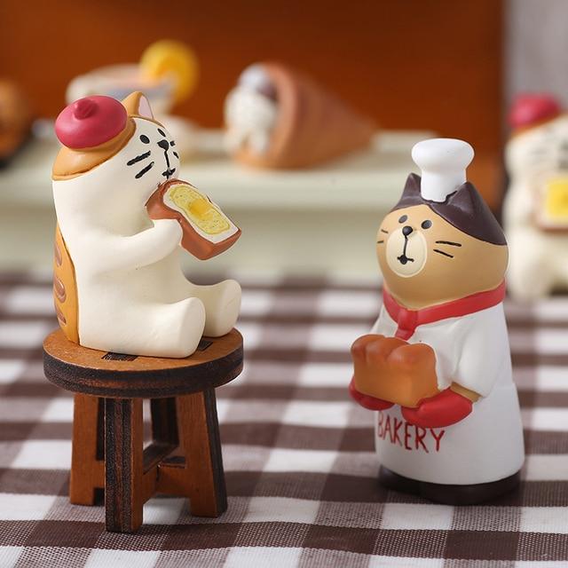 Japan Style Kawaii Cartoon Animals Cat Simulation Food Bread Resin Home Decoration Gifts Miniature Figurines Ornament Hogar 3