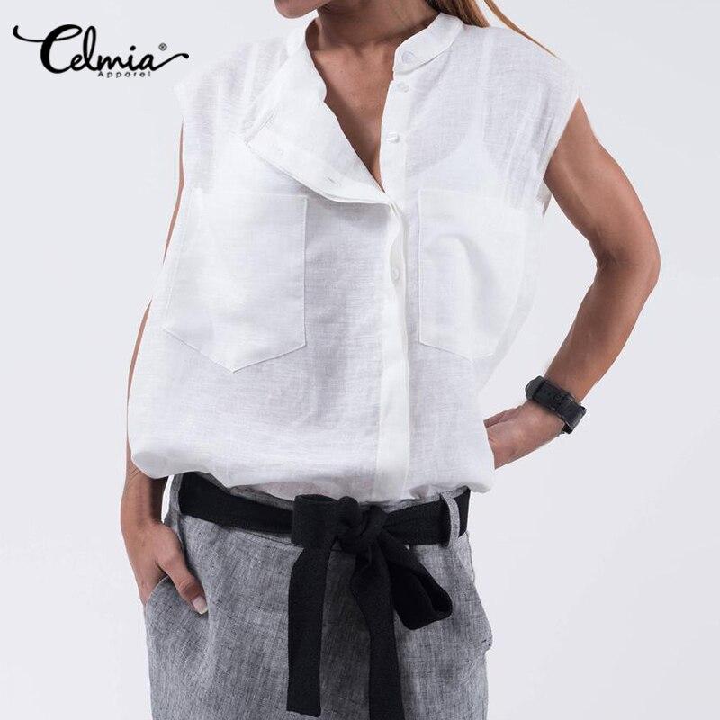 S-5XL Celmia Vintage Cotton Linen Tops Women's Blouse 2020 Summer Short Sleeve Buttons Casual Shirt Loose Solid Pockets Blusas 7