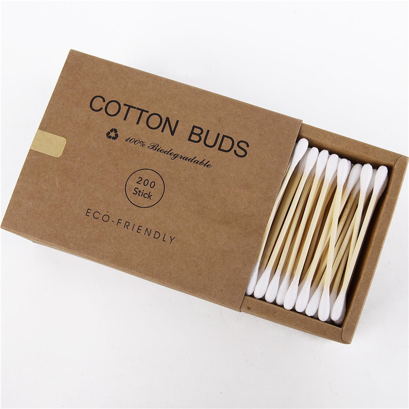 100/200Pcs Double Head Bamboo Cotton Swab Wood Sticks Disposable Buds For Women Beauty Makeup Nose Ears Healthy Cleaning Tool